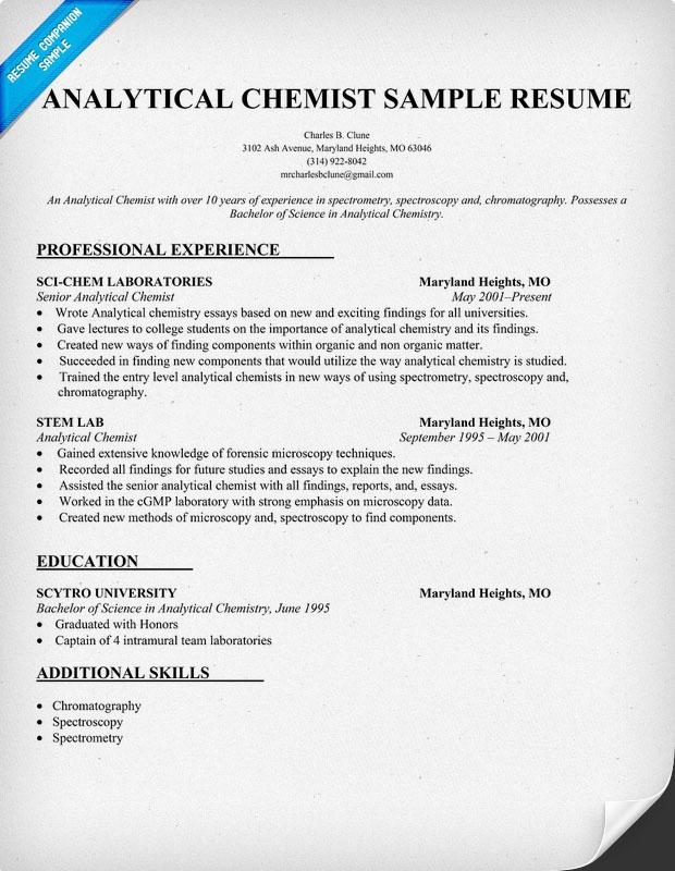 Analytical Chemist Cv Examplesplease Help