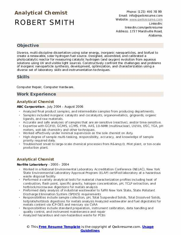Analytical Chemist Resume Samples