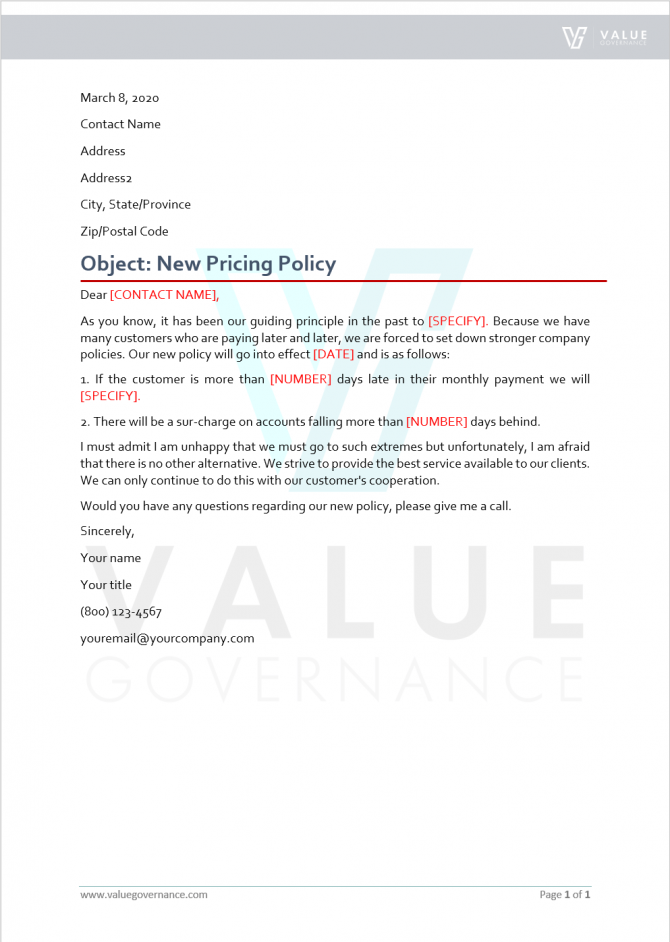 Announcement Of New Pricing Policy