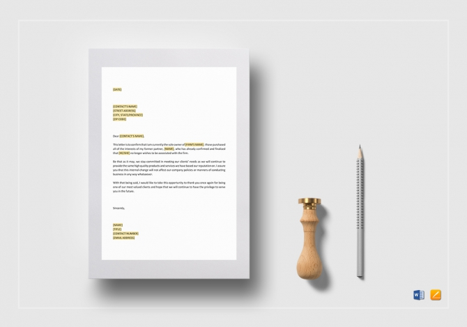 Announcement Of Partnership Buyout Template In Word  Google Docs