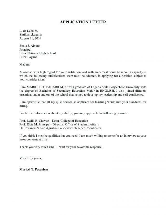 Application Letter Sample For Fresh Graduate Computer Science With