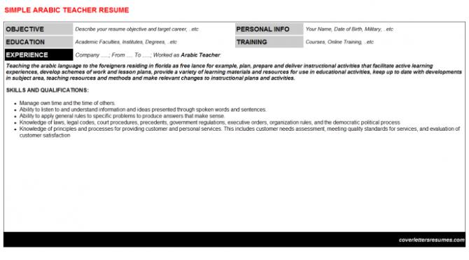 Arabic Teacher Job Cover Letter   Resume