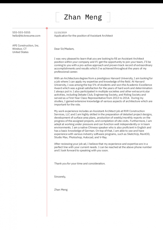 Architecture Cover Letter Example