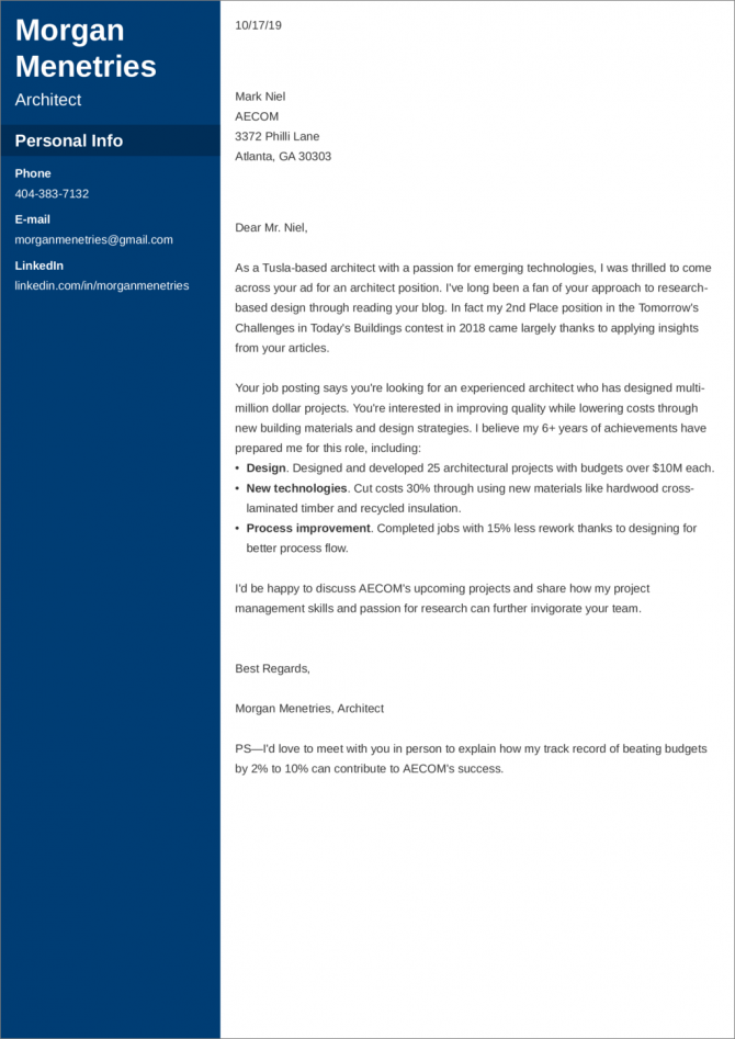 Architecture Cover Letter Examples   Ready