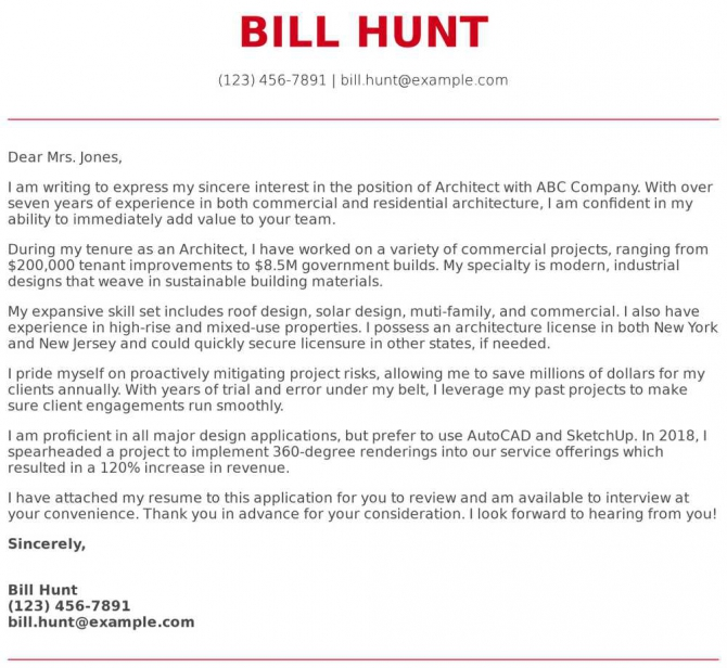 Architecture Cover Letter Examples  Samples   Templates