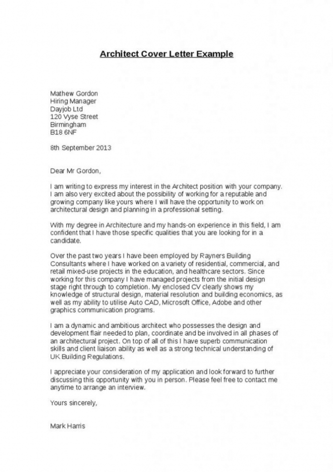 Architecture Cover Letter Sample In