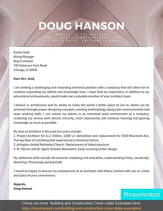 Architecture Cover Letter Samples   Templates Pdfword