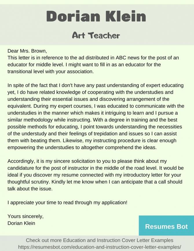 Art Teacher Cover Letter Samples   Templates Pdfword