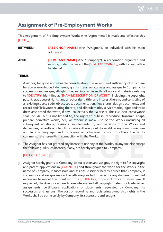 Assignment Of Pre