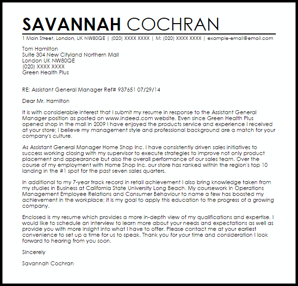 Assistant General Manager Cover Letter Sample