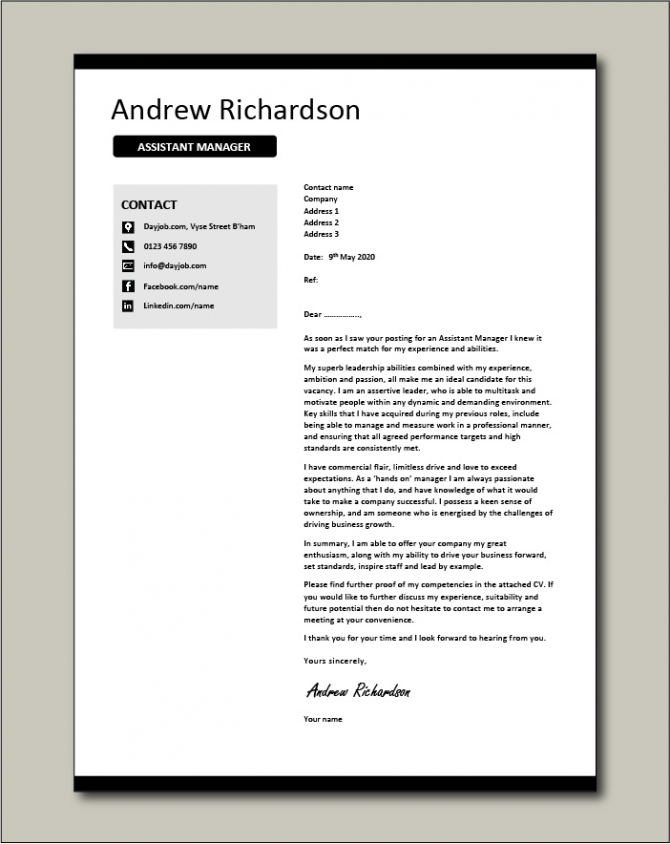Assistant Manager Cover Letter Example  Templates  Managerial