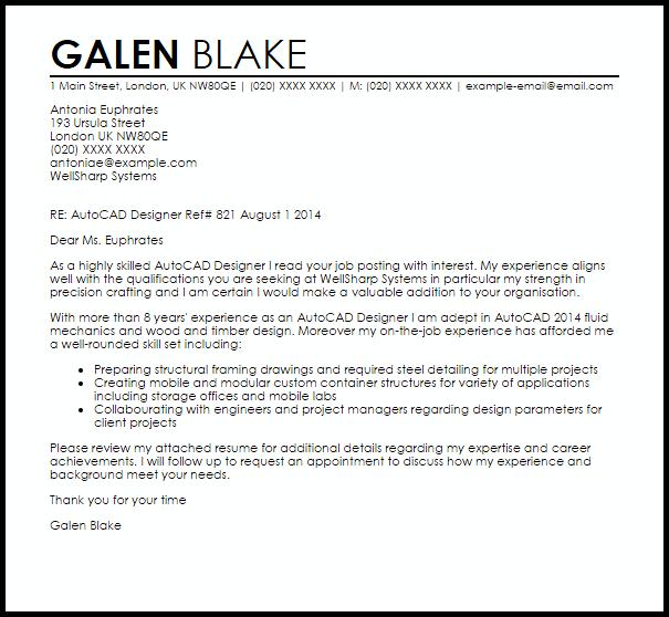 Autocad Designer Cover Letter Sample