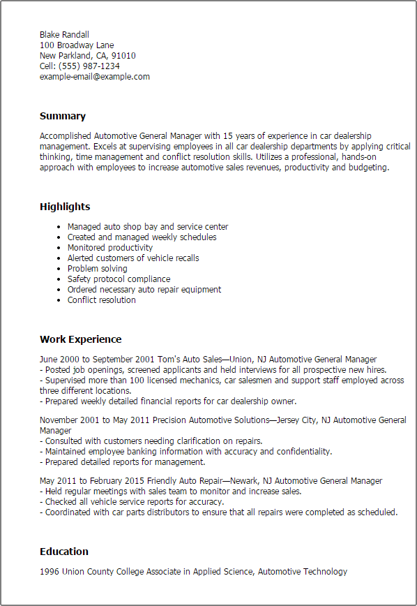 Automotive General Manager Resume Templates Try Them Now