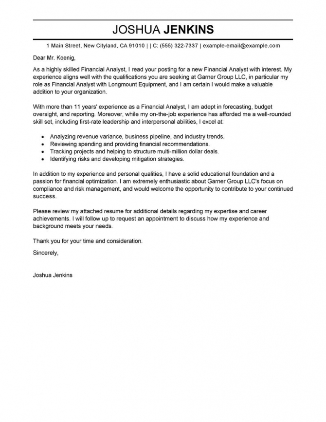 Best Analyst Cover Letter Examples