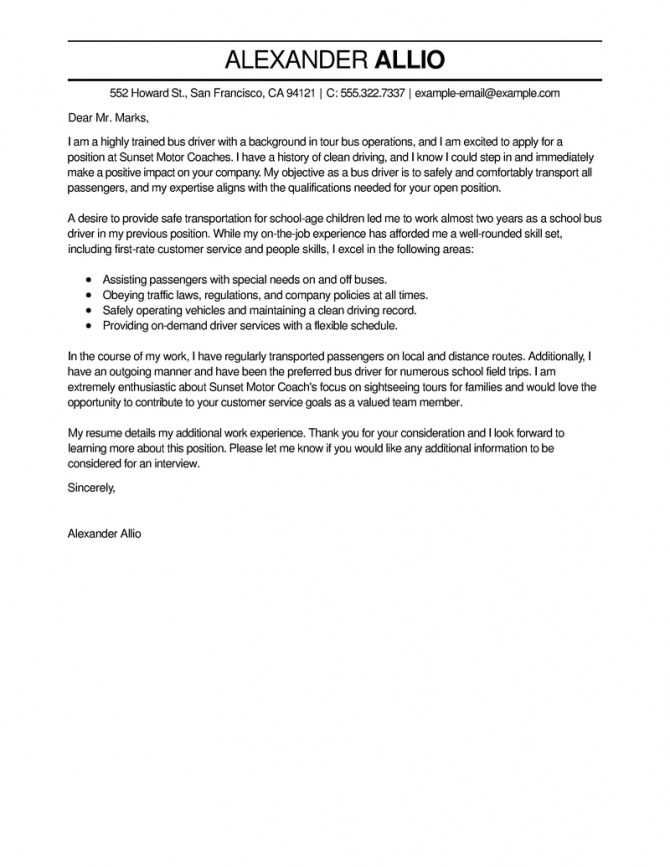 Best Bus Driver Cover Letter Examples