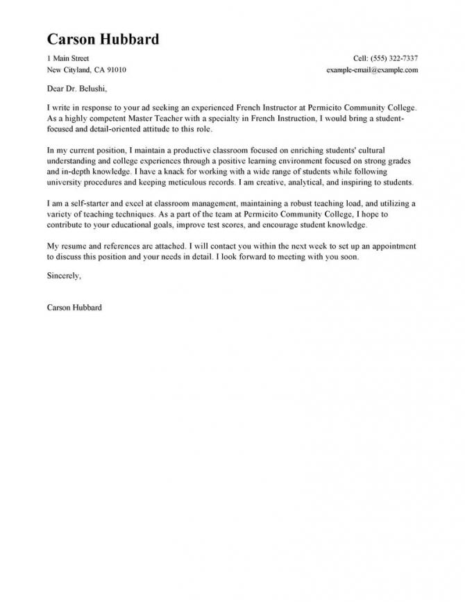 Best Master Teacher Cover Letter Examples