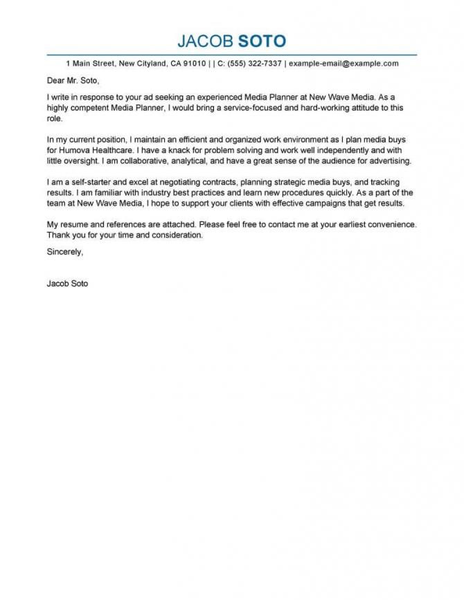 Best Media Planner Cover Letter Examples