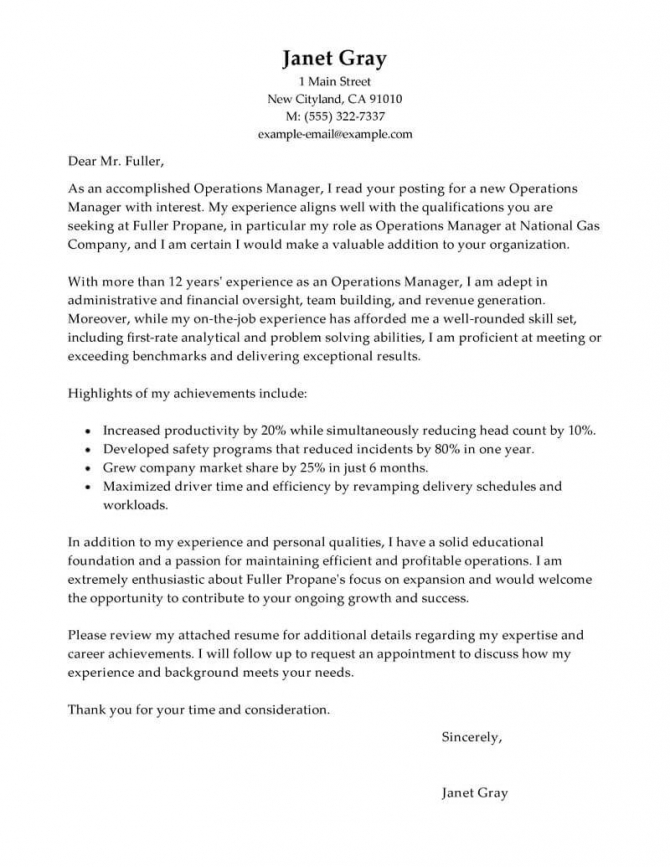 Best Operations Manager Cover Letter Examples