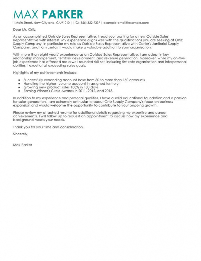 Best Outside Sales Representative Cover Letter Examples