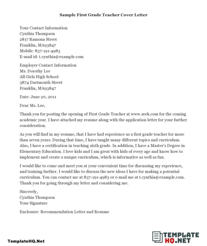 Best Parts For An Enchanting Cover Letter For Teacher