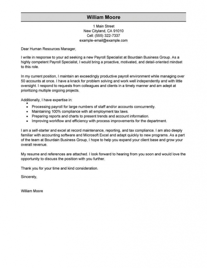 Best Payroll Specialist Cover Letter Examples
