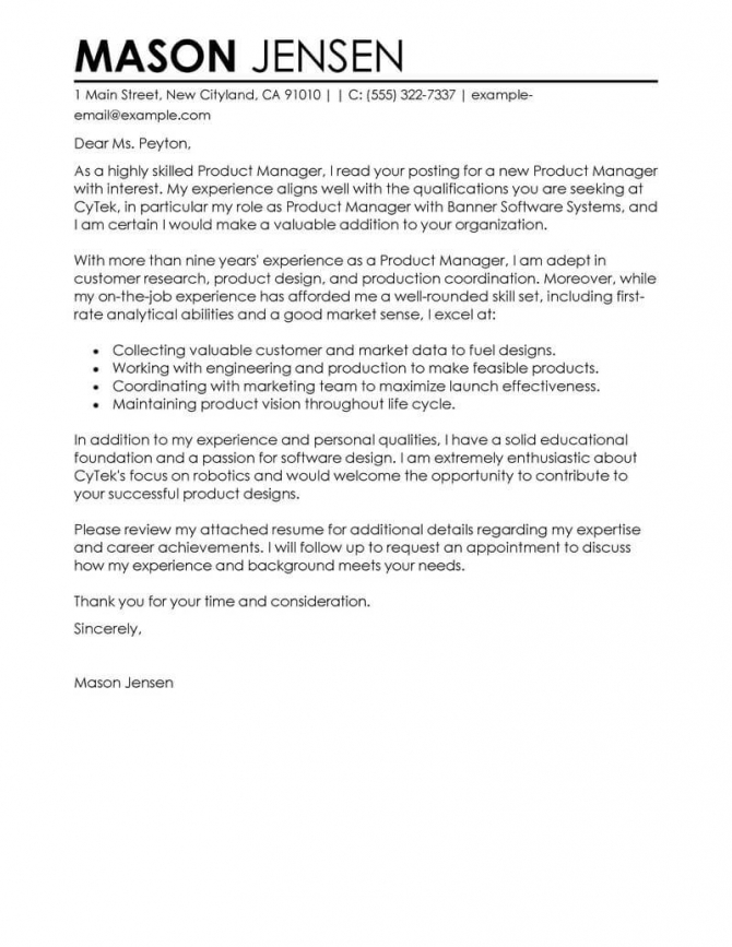 Best Product Manager Cover Letter Examples