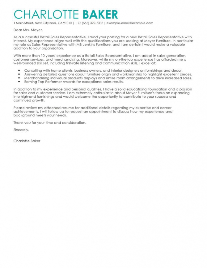 Best Rep Retail Sales Cover Letter Examples