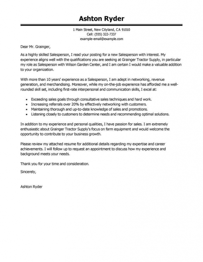 Best Salesperson Cover Letter Examples