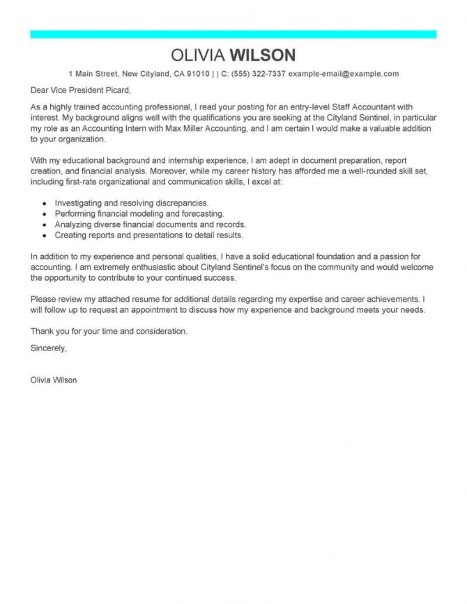 Best Staff Accountant Cover Letter Examples