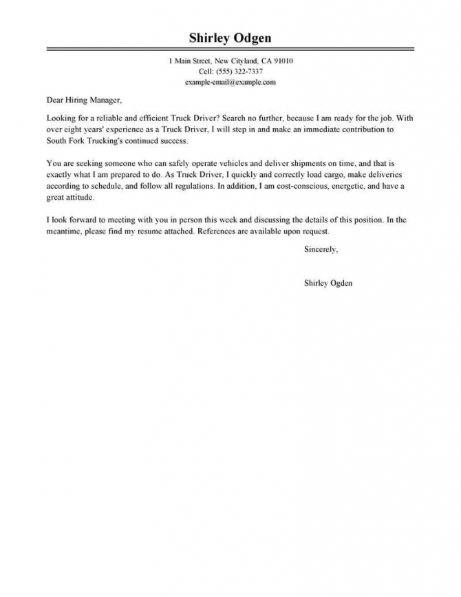 Best Truck Driver Cover Letter Examples