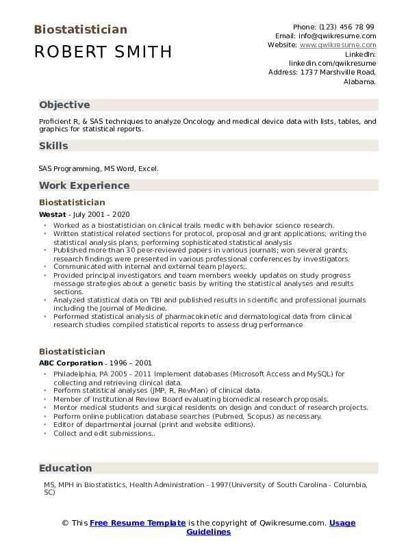 Biostatistician Resume Samples