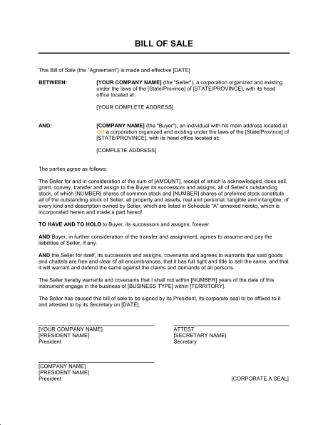 Biztree Bill Of Sale For Corporations Template Sample Form