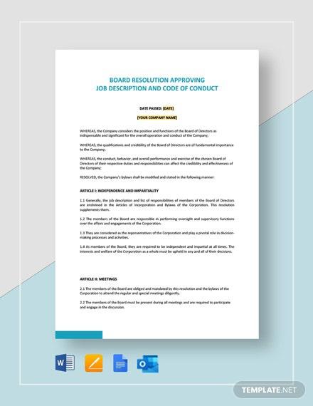 Board Resolution Approving Job Description   Code Of Conduct