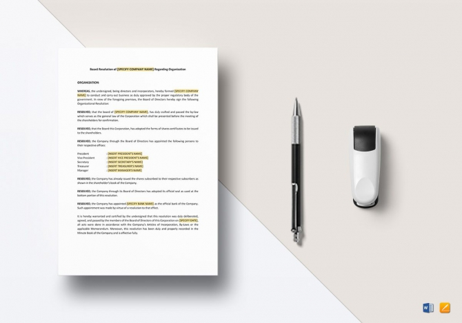 Board Resolution Regarding Organization Template In Word  Apple Pages