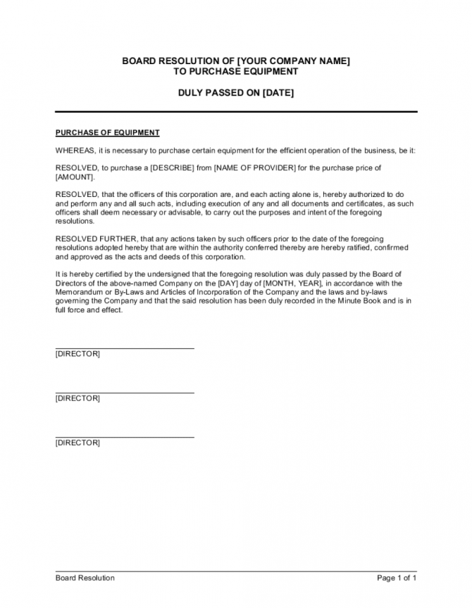 Board Resolution To Purchase Equipment Template