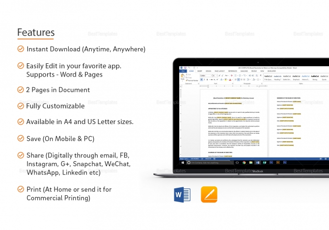 Board Resolution To Retain An Attorney Template In Word  Apple Pages