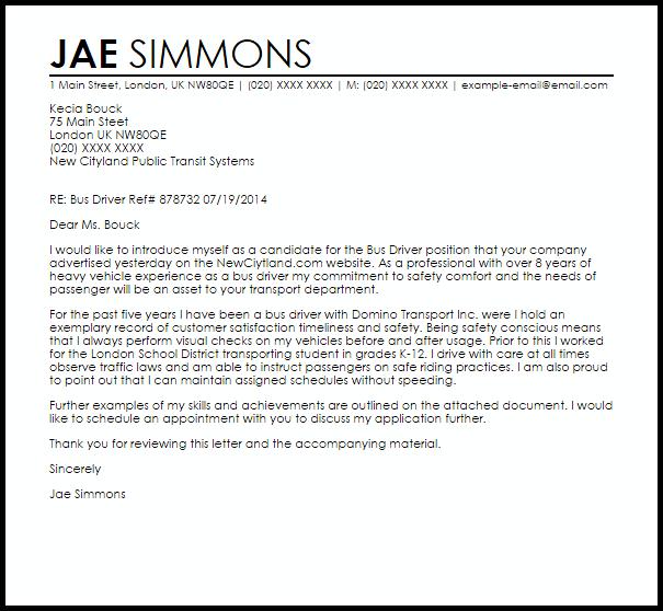 Bus Driver Cover Letter Sample Samples Livecareer Resume For