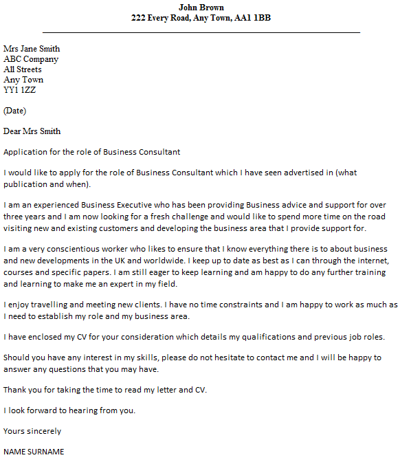 Business Consultant Cover Letter Example