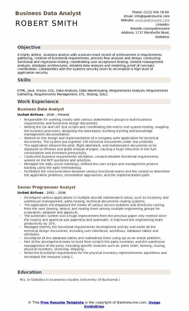Business Data Analyst Resume Samples