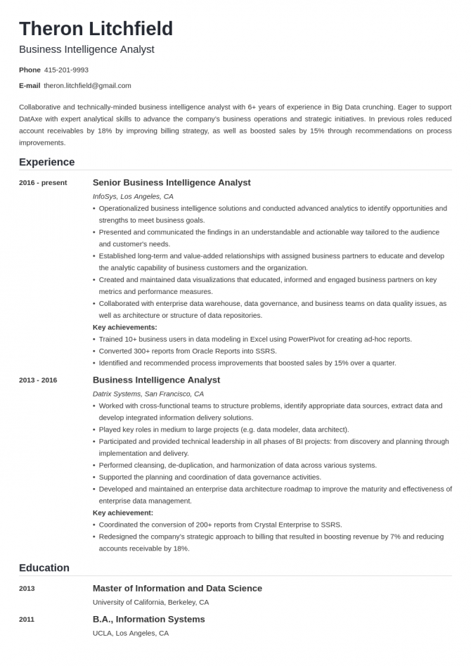 Business Intelligence Bi Analyst Resume Sample