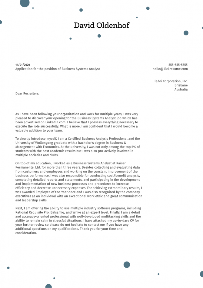 Business System Analyst Cover Letter Sample