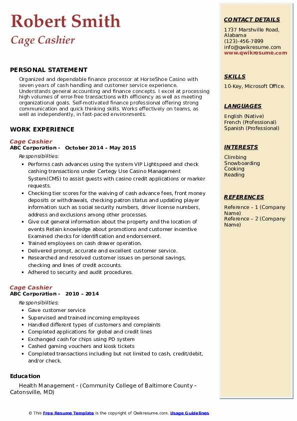 Cage Cashier Resume Samples