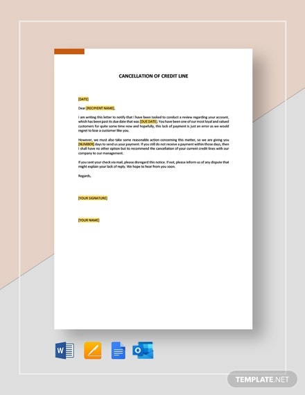 Cancellation Of Credit Line Template