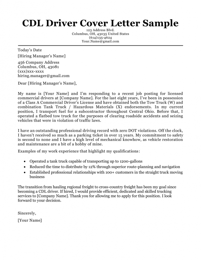 Cdl Driver Cover Letter Sample   Writing Tips