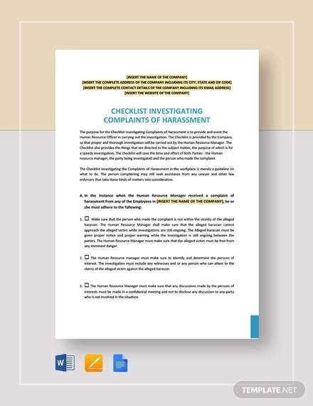 Checklist Investigating Complaints Of Harassment