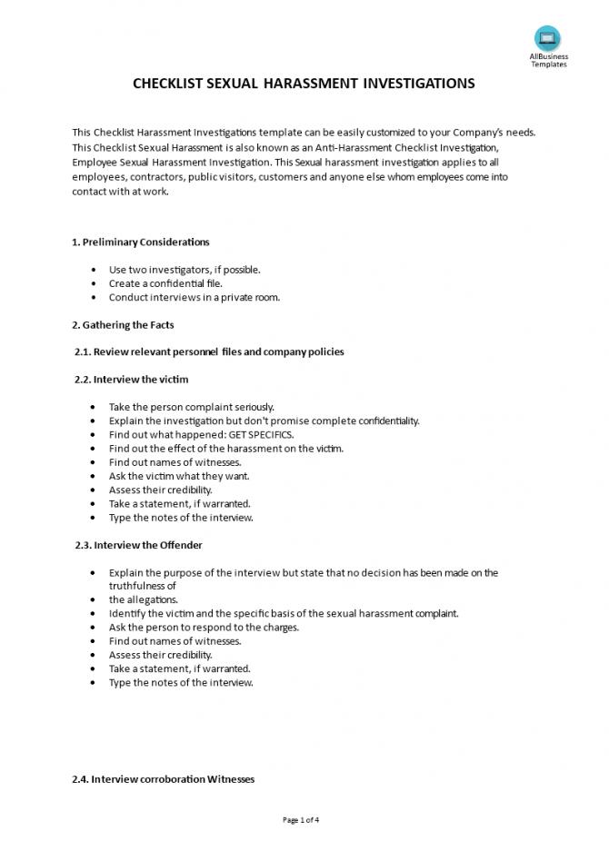 Checklist Sexual Harassment Investigation