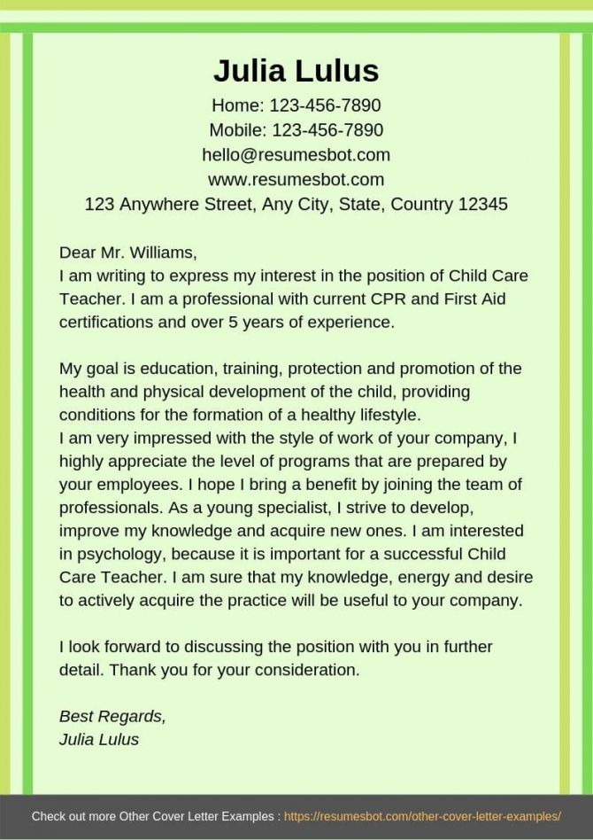 Child Care Cover Letter Samples   Templates Pdfword