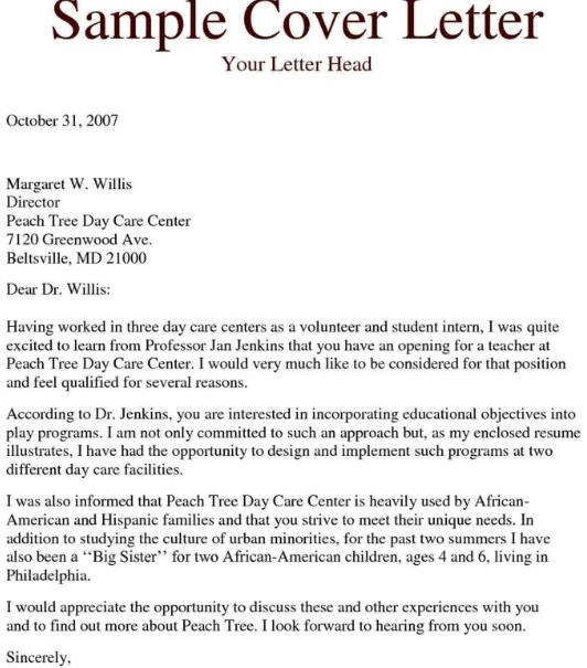 Child Care Teacher Assistant Cover Letter