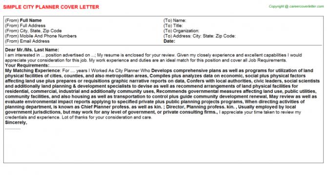 City Planner Cover Letter