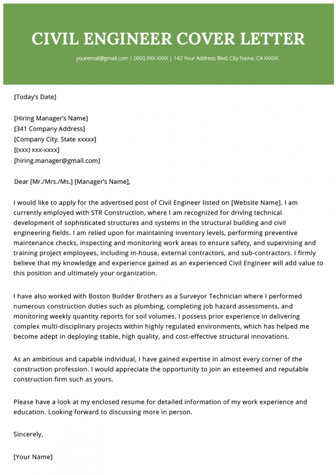 Civil Engineer Cover Letter Example Template